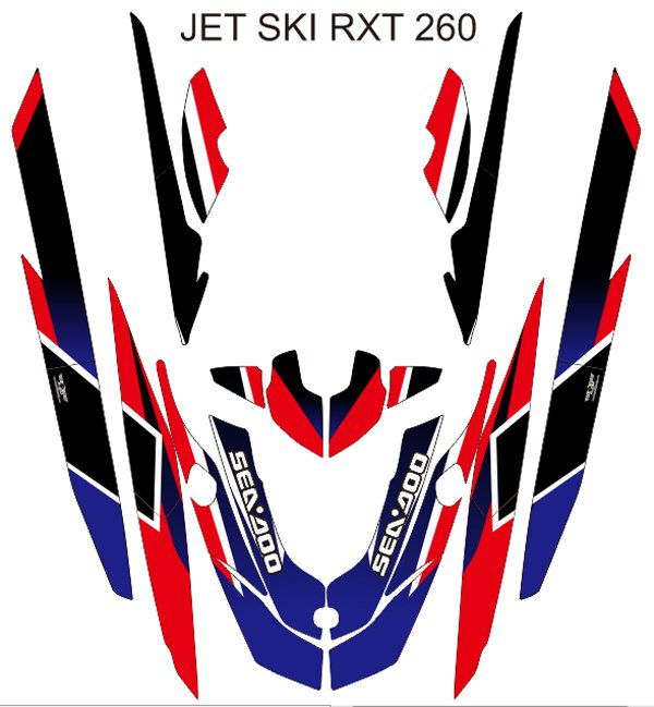 SEADOO RXT 260 JET SKI GRAPHIC DECAL KIT CODE.RXT 014