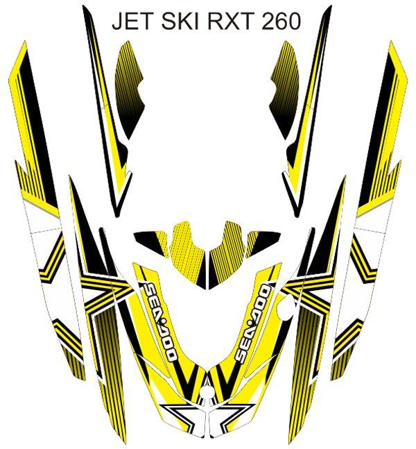 SEADOO RXT 260 JET SKI GRAPHIC DECAL KIT CODE.RXT 015