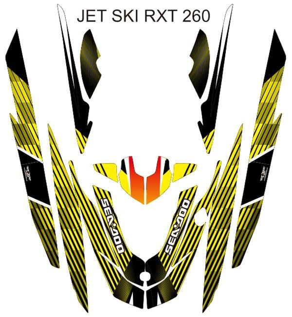 SEADOO RXT 260 JET SKI GRAPHIC DECAL KIT CODE.RXT 016