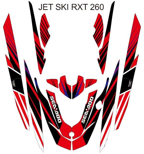 SEADOO RXT 260 JET SKI GRAPHIC DECAL KIT CODE.RXT 017