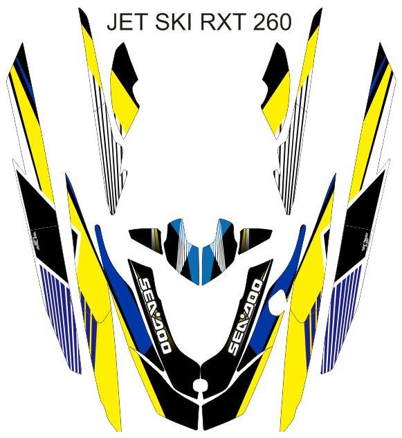 SEADOO RXT 260 JET SKI GRAPHIC DECAL KIT CODE.RXT 018