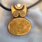 Vintage Costume Modernist  Enamel Swirl Necklace
