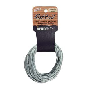 2mm Rattail Cord Silver, 6yds