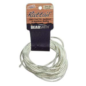 2mm Rattail Cord, Ivory, 6yds