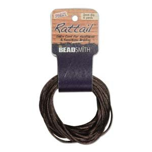 2mm Rattail Cord, Med Brown, 6yds