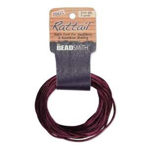 2mm Rattail Cord, Plum, 6yds