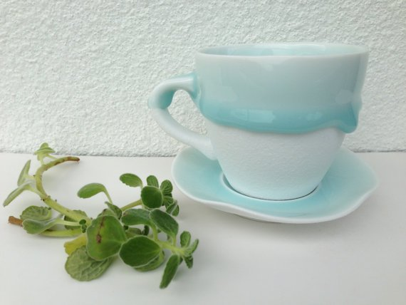 Free Shipping!! Ceramic Cup & Saucer Tea Set in Tiffany blue/ Turquoise -Handmade