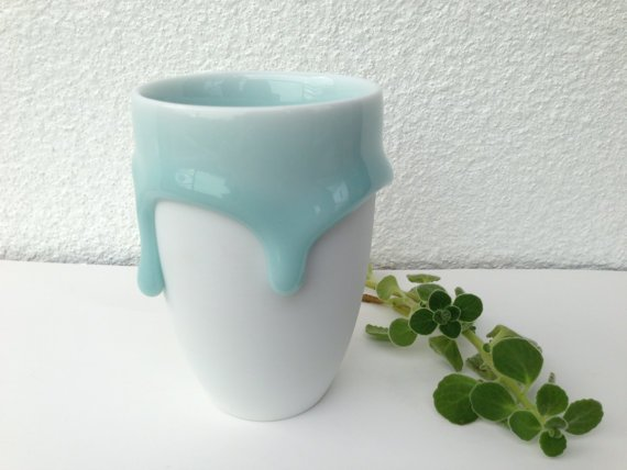 Free Shipping!! Ceramic Cup in Tiffany Blue/ Turquoise, Handmade