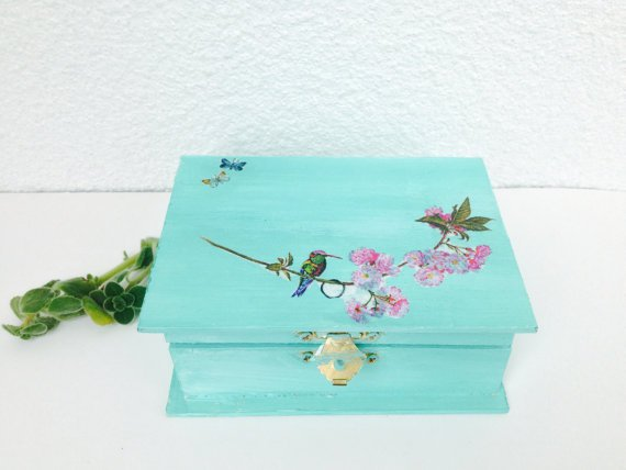 Free Shipping!! Handmade Vintage Jewelry Box with decoupage - Wooden