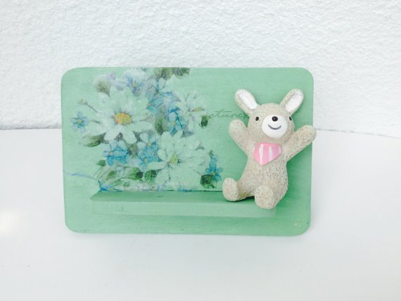 Free Shipping!! Painted Iphone Stand Painting in Tiffany blue with decoupage