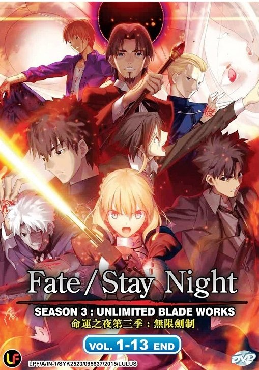 DVD JAPANESE ANIME Fate/Stay Night 3 Unlimited Blade Works V.1-13End English Sub