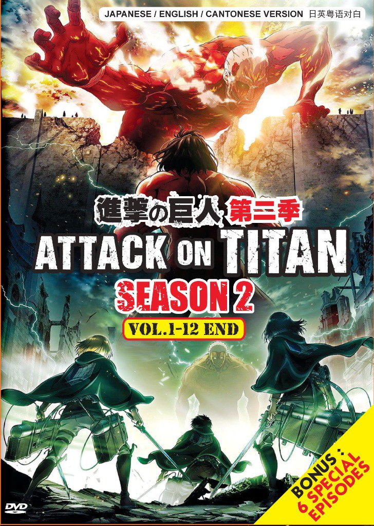 DVD ANIME Attack On Titan Season 2 Vol.1-12End bonus 6 Special English Dubbed