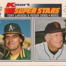 1990 K-Mart Superstars #33 Tony LaRussa Roger Craig Oakland A's San Francisco Giants