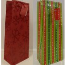 2 WINE BOTTLE TOTE GIFT BAG CHRISTMAS PAPER HANDLE CARD HOLIDAY PARTY GREEN RED