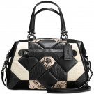Coach Canyon Quilt Exotic Primrose Leather Satchel Carryall Shoulder Black/White 2 Looks 1 Bag 38295