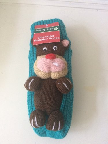 Merry Brite Character Sweater Socks Blue Dog slippers Cozy Grippers NWT Sz 9-11