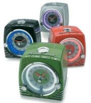 TELEMANIA Ford Thunderbird Retro Neon Alarm Clock Radio with CD Player - Blue