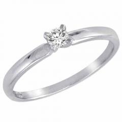 Round Diamond Solitaire Engagement Ring in Sterling Silver