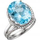14k White Gold Genuine Sky Blue Topaz and Diamond Ring