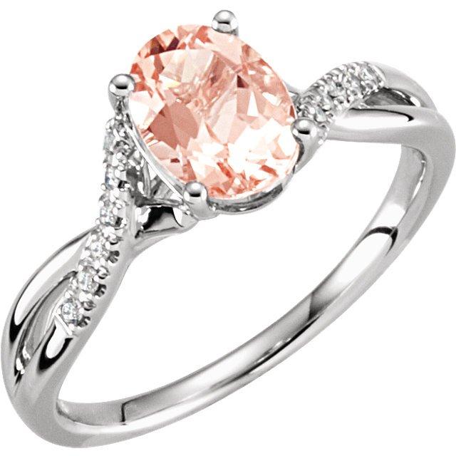 14k white gold morganite and engagement ring