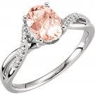 14k White Gold Morganite and Diamond Engagement Ring