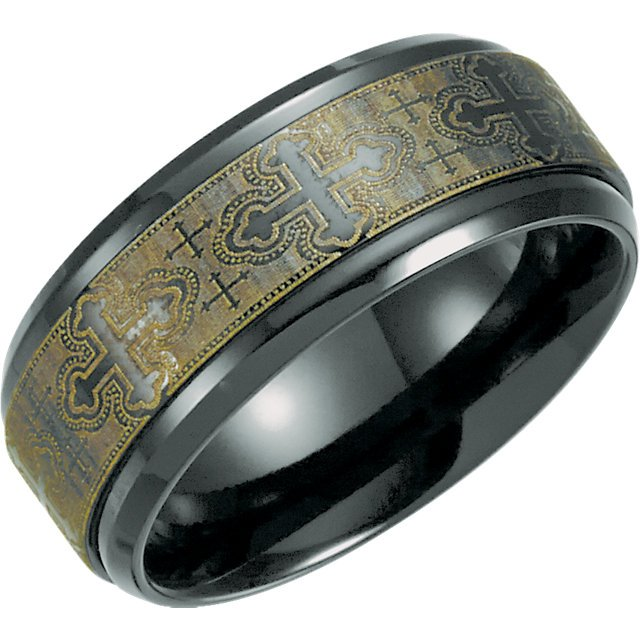 Men 39 S And Women 39 S Black Titanium Laser Cross Design Wedding Band Ring