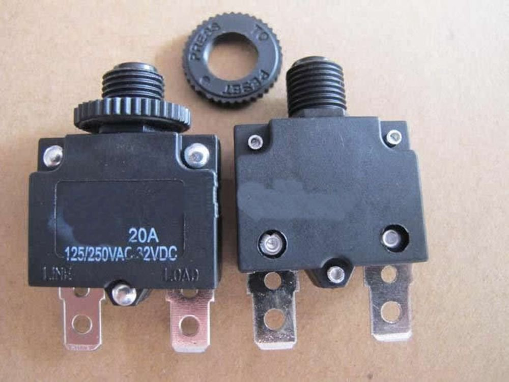 2 pieces 125/250VAC 20A NC SPST 2 Pins Circuit Breaker Overload Protector
