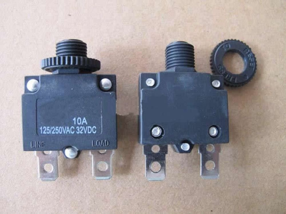 2 pieces 125/250VAC 10A NC SPST 2 Pins Circuit Breaker Overload Protector