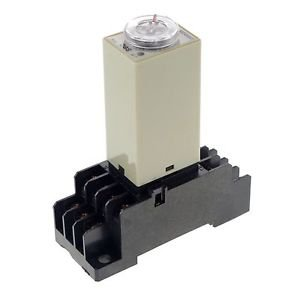 2~60S 110V H3Y-4 Power On Time Delay Relay Solid-State Timer,4PDT,14Pins&Socket