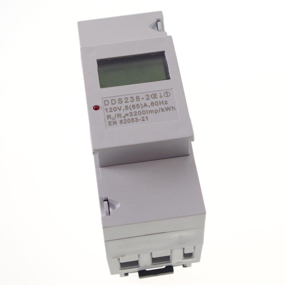 5(65A) 120VAC 60Hz Single Phase DIN-rail Kilowatt LED Hour kwh Meter CE Proved