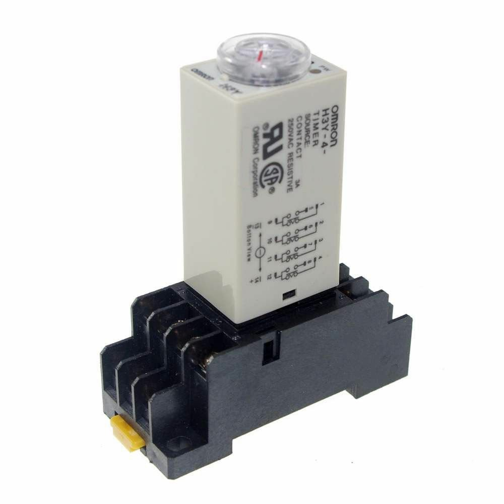 1~30Min 220V H3Y-4 Power On Time Delay Relay Solid-State Timer 4PDT 14Pin&Socket