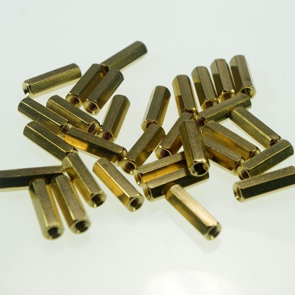 (20) M3�35mm Hexagonal Threaded Double Pass Brass Spacers Hexagon Copper Post