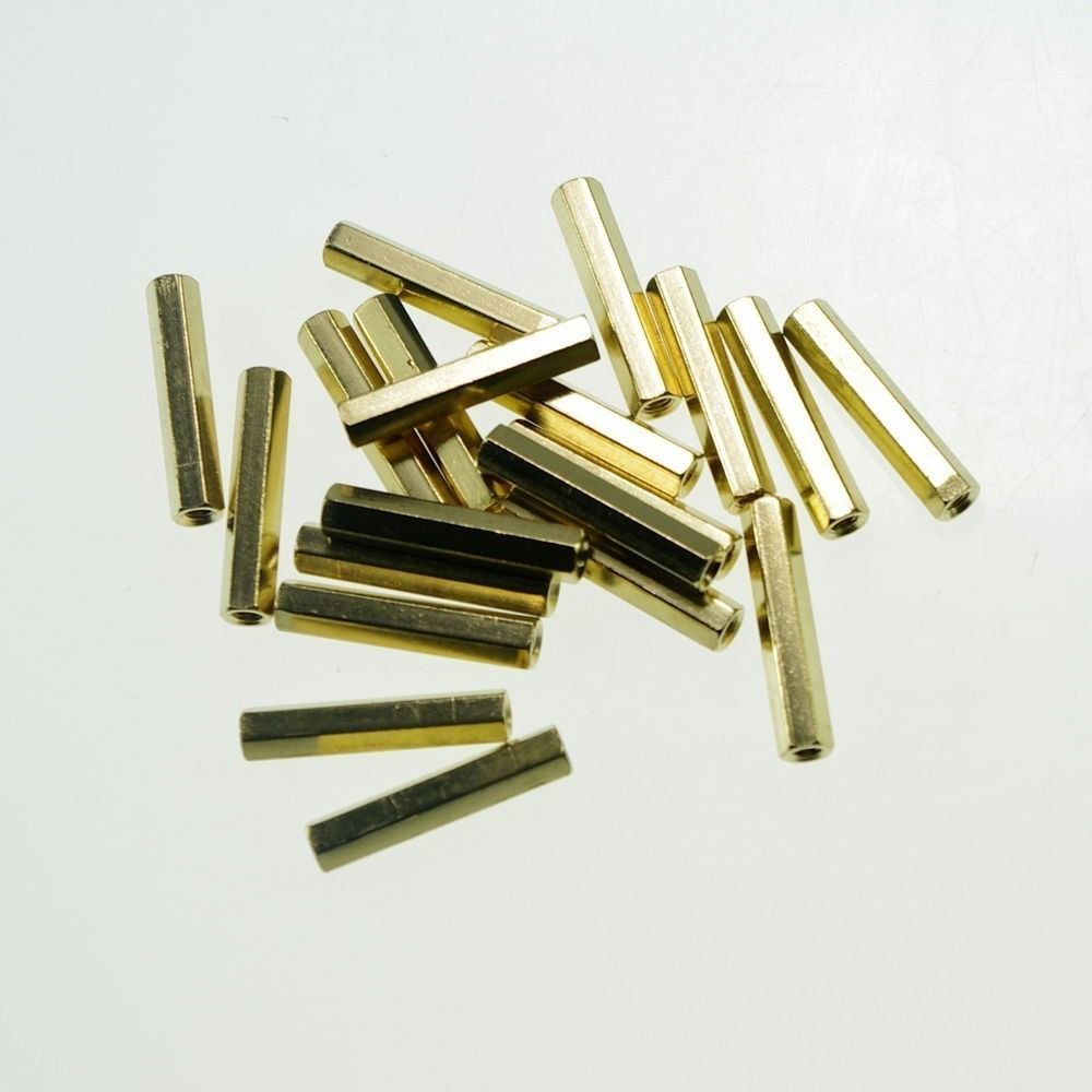 (20) M3�18mm Hexagonal Threaded Double Pass Brass Spacers Hexagon Copper Post