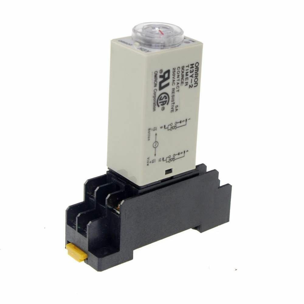 H3Y-2 Power On 3A Time Delay Relay Solid-State 5 MINUTE DPDT And Socket 220VAC