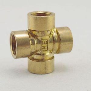 "1/4"" BSP 4 Way Female Cross Pipe Brass Adapter Coupler"