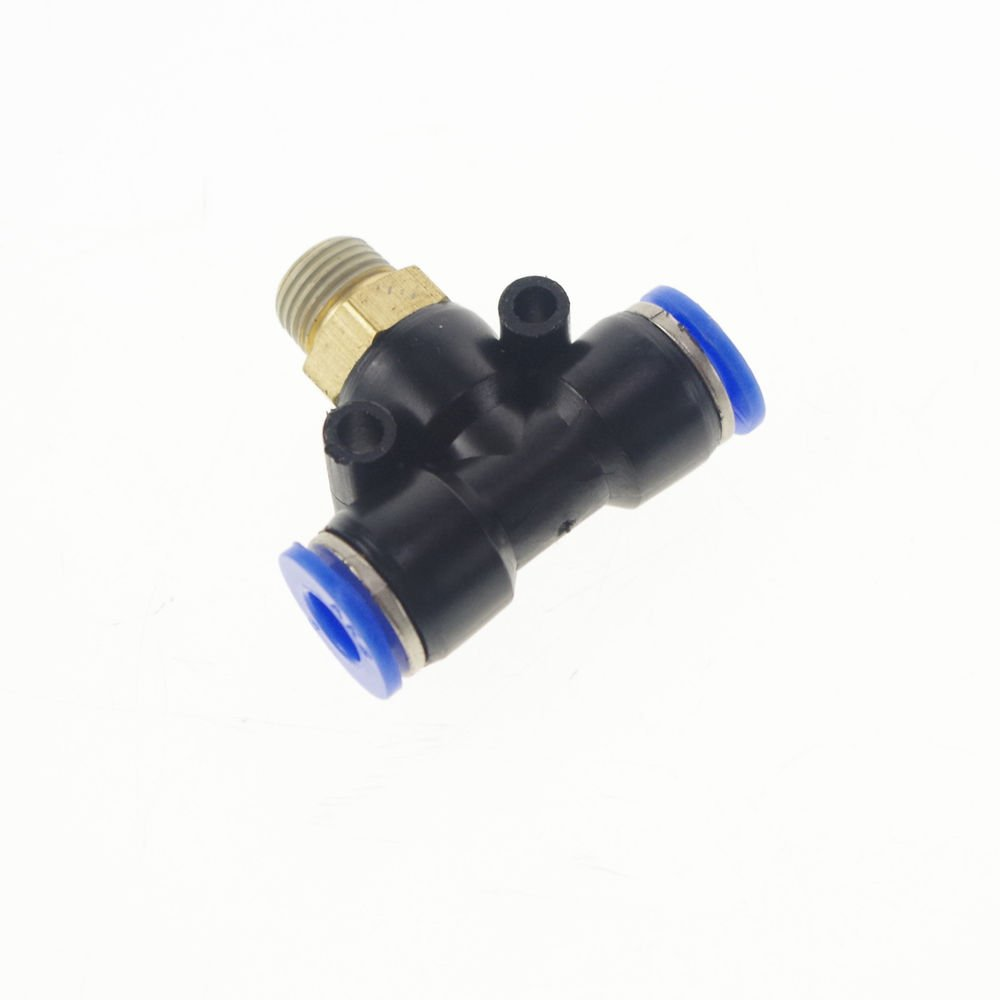 """LOT5 Pneumatic Push In Tube Fitting Branch T Union 8mm to Center Male 1/4"""" BSP"""