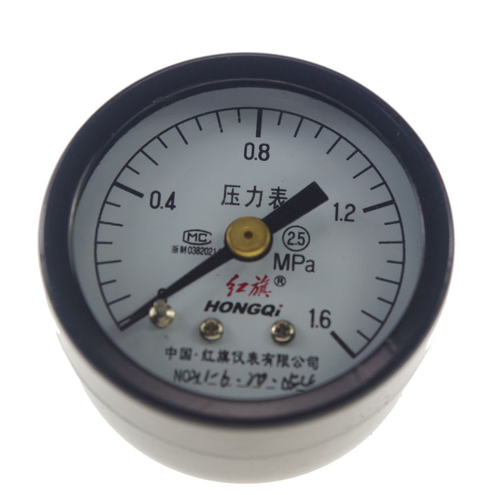 Water Oil Hydraulic Air Pressure Gauge Universal Gauge M10*1 40mm Dia 0-1.6Mpa