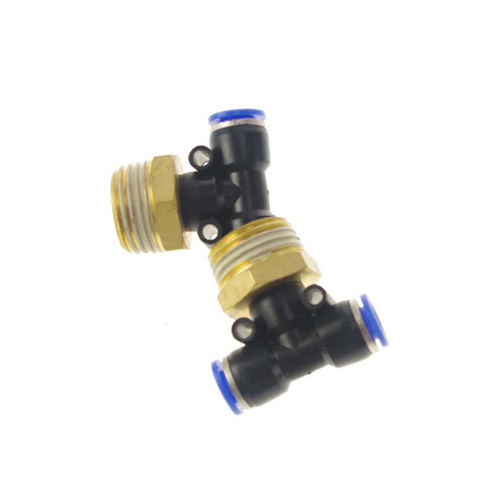 """LOT5 Pneumatic Push In Tube Fitting Branch T Union 12mm to Center Male 3/8"""" BSP"""