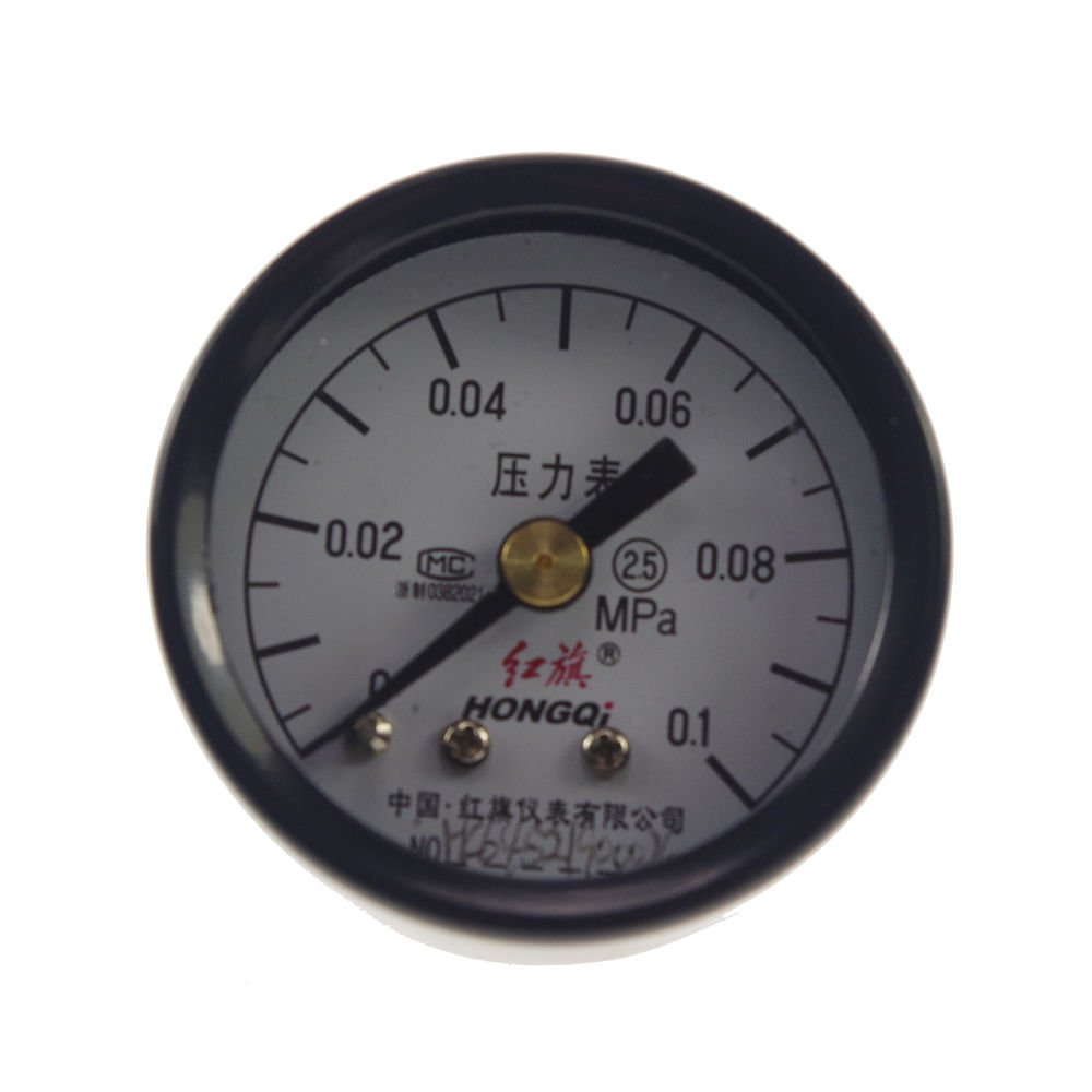 Water Oil Hydraulic Air Pressure Gauge Universal Gauge M10*1 40mm Dia 0-0.1Mpa