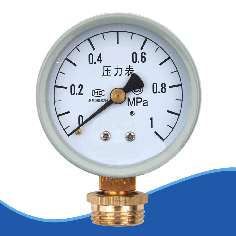 "Water Oil Hydraulic Air Pressure Gauge M14*1.5 0.6/1Mpa with 1/2""BSPP Adapter"