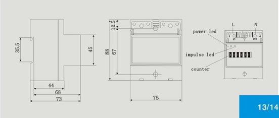 230V 50hz 20-100A Single Phase DIN-rail Type Kilowatt Hour kwh Meter