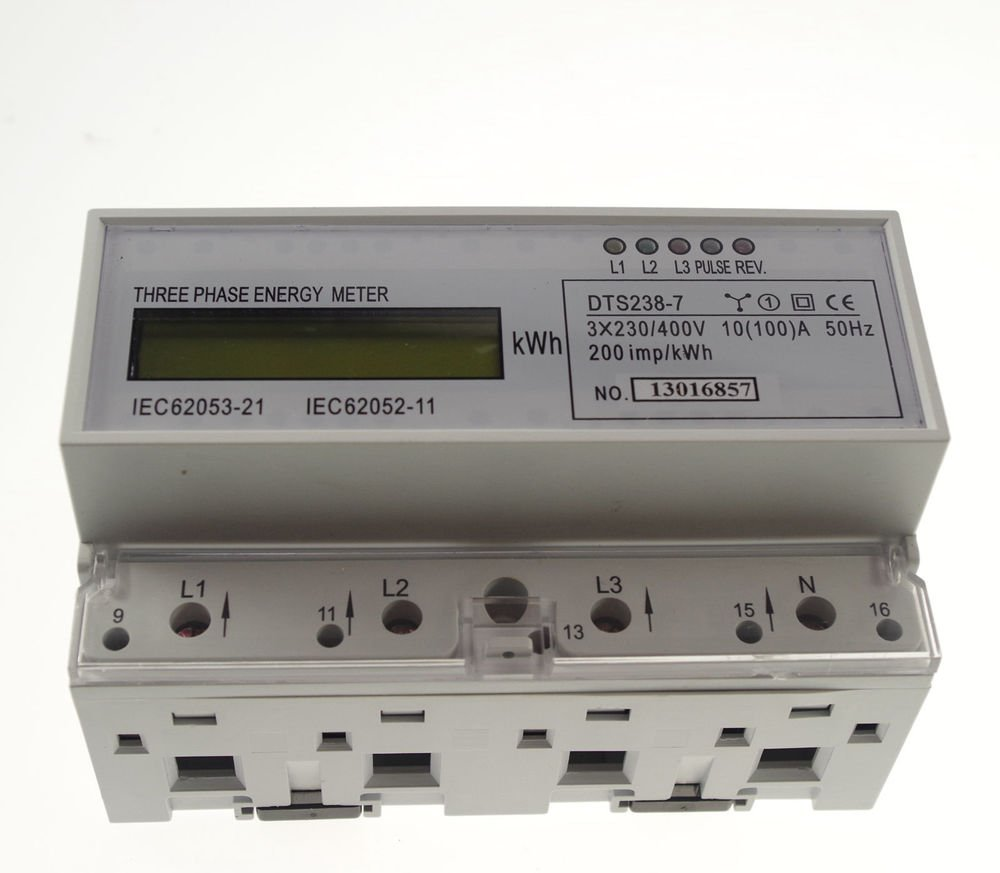 10-100A DIN Rail 230/400VAC 50hz 3 Phase Watt-hour KWH Energy Meter