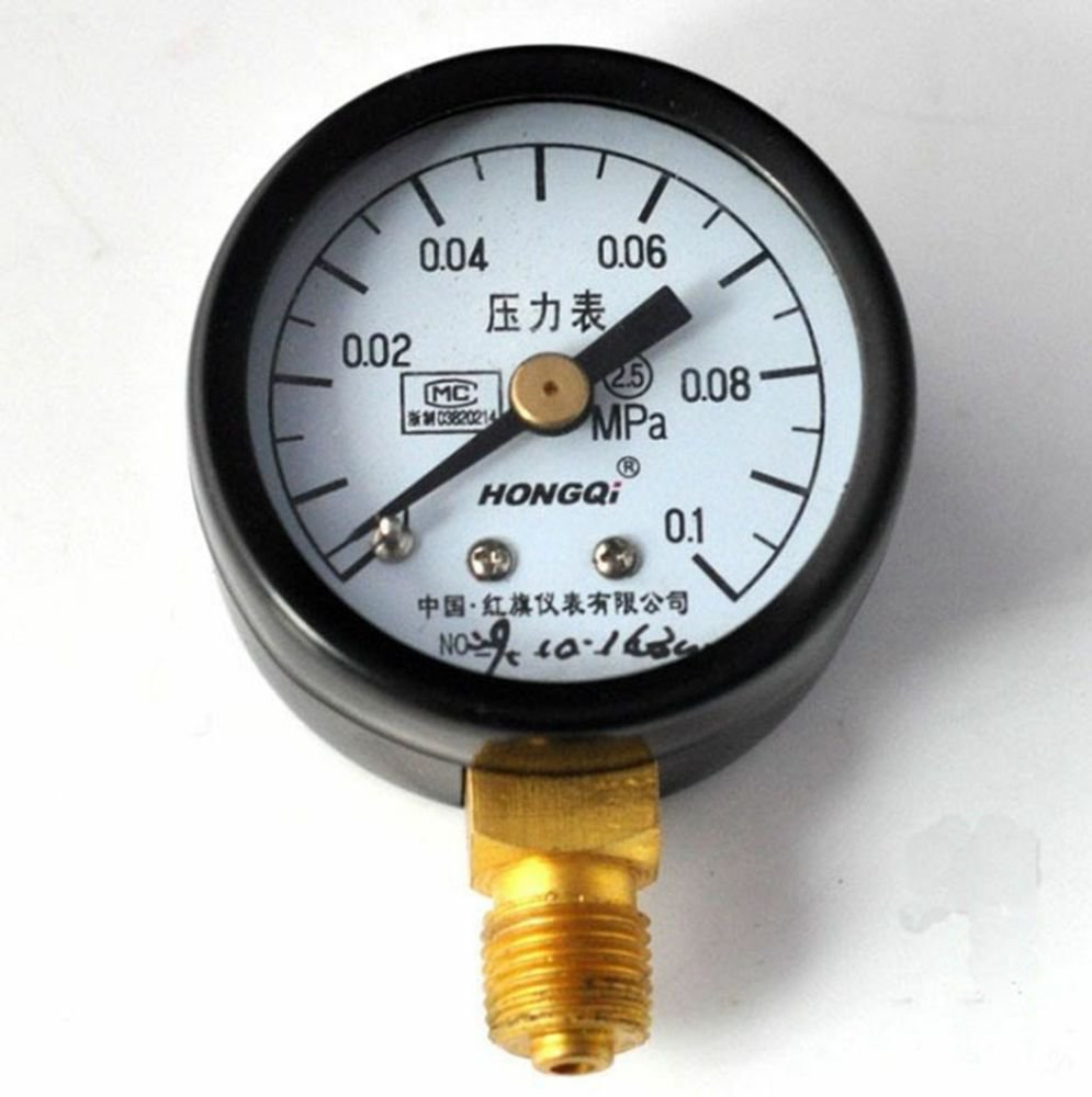 Water Oil Hydraulic Air Pressure Gauge Universal Gauge M10*1  40mm Dia 0-0.1Mpa