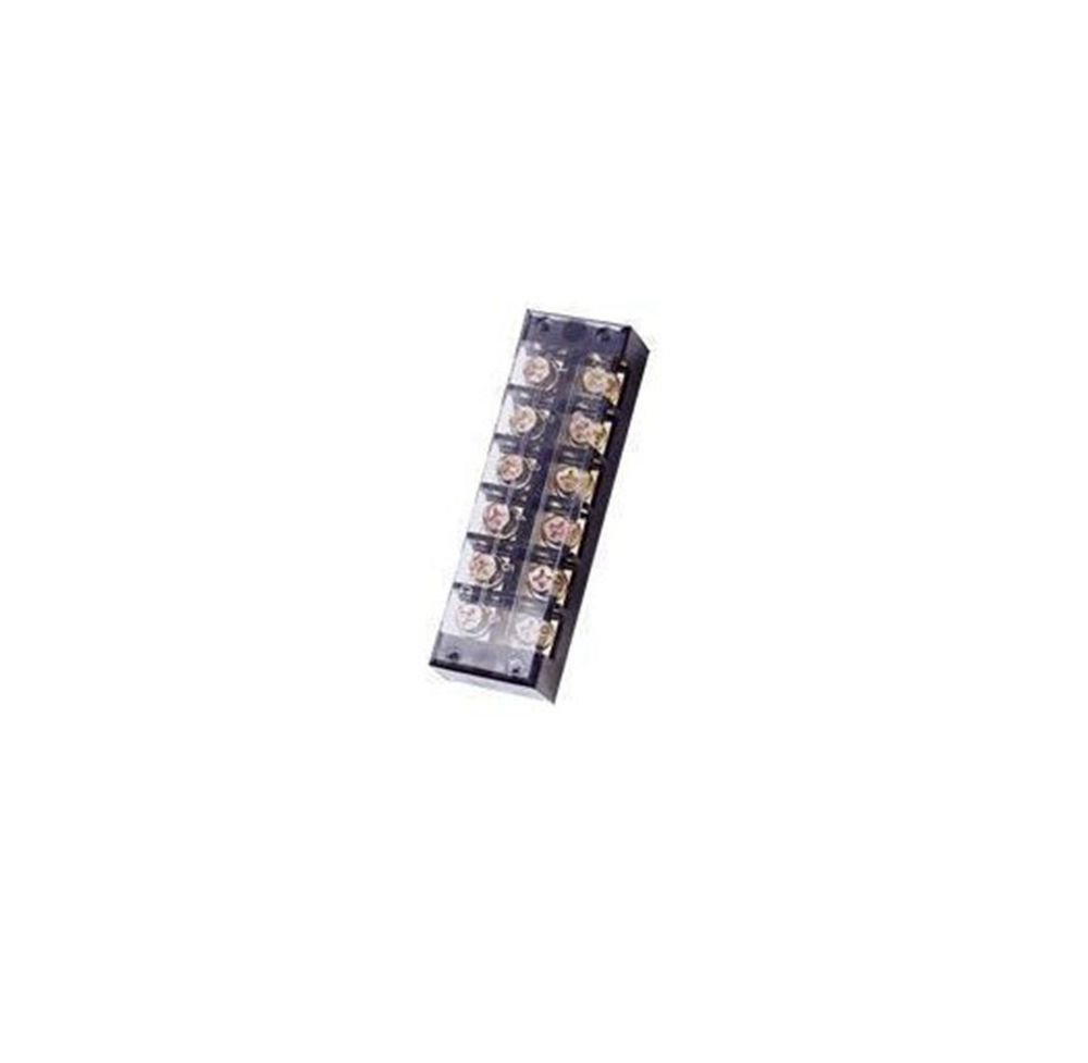 (1)6 Position/Poles 12 Holes Screw Terminal Block Covered Barrier Strip 600V 60A