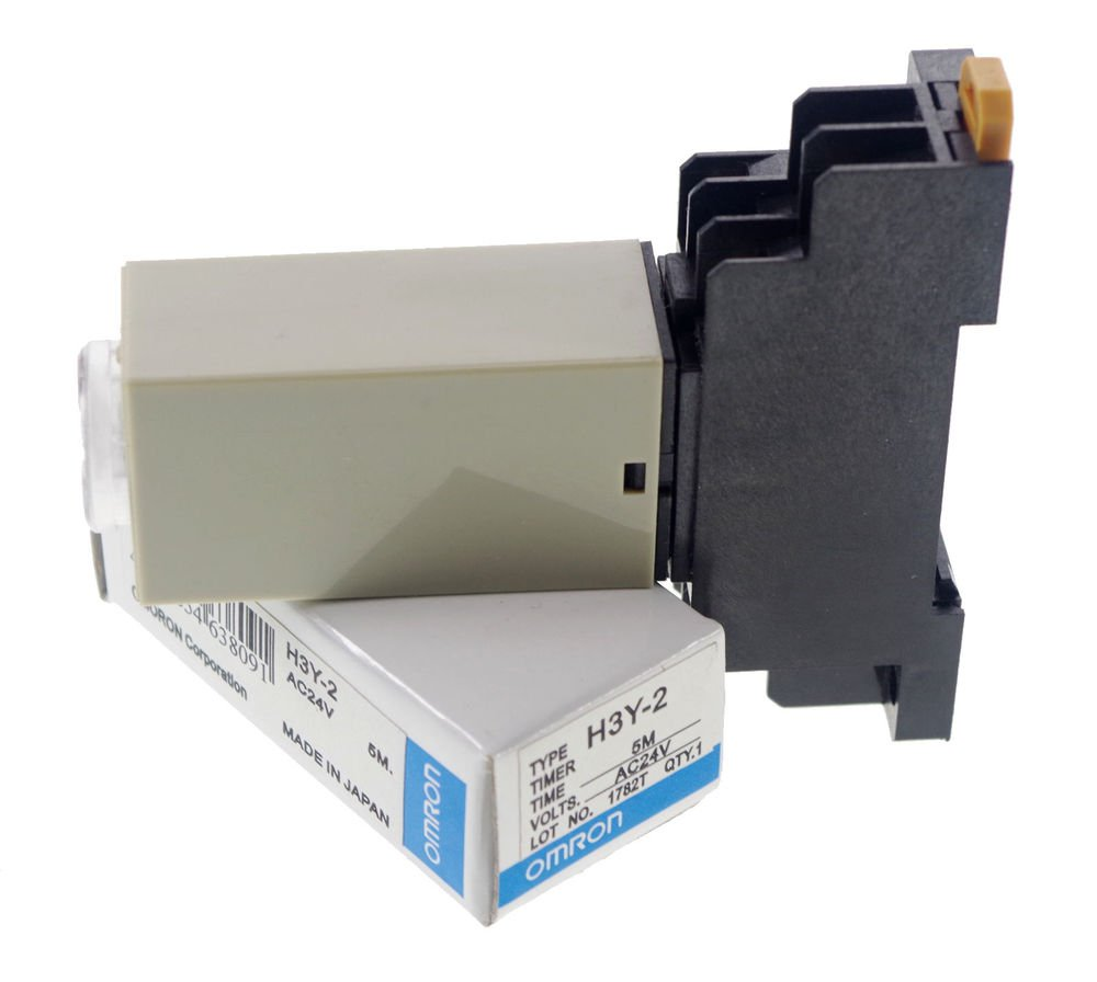 5 MINUTE 24VAC H3Y-2 Power On 3A Time Delay Relay Solid-State DPDT 8Pins &Socket