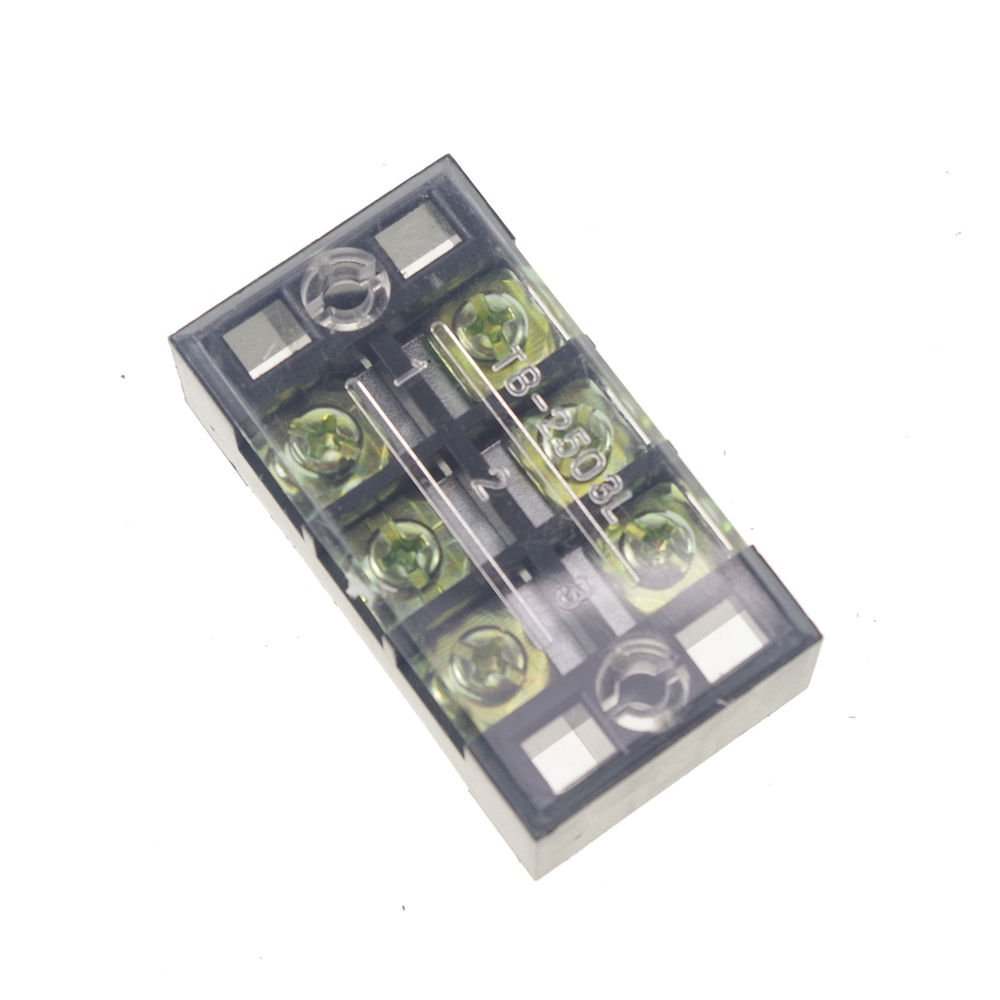 (2)3 Position/Poles 6 Holes Screw Terminal Blocks Covered Barrier Strip 600V 25A