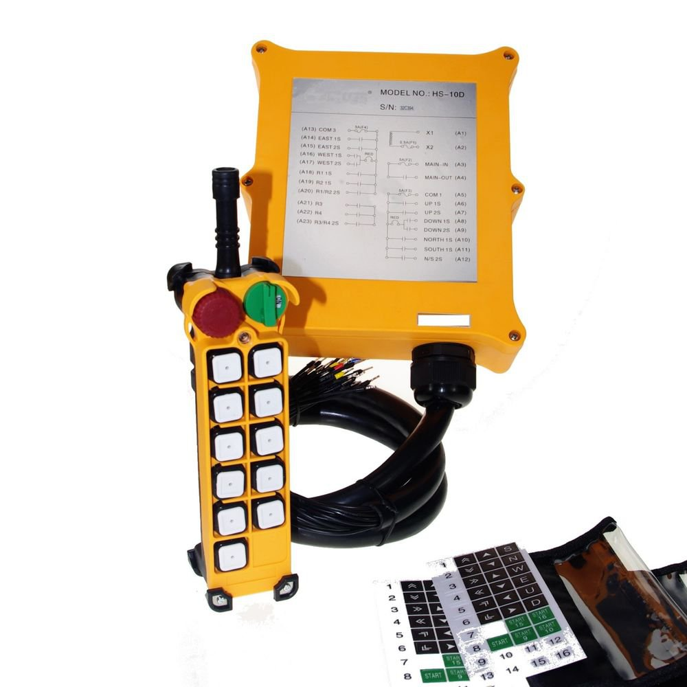 2 Speed 10 Channels Buttons Hoist Crane Remote Control System Controller E-Stop