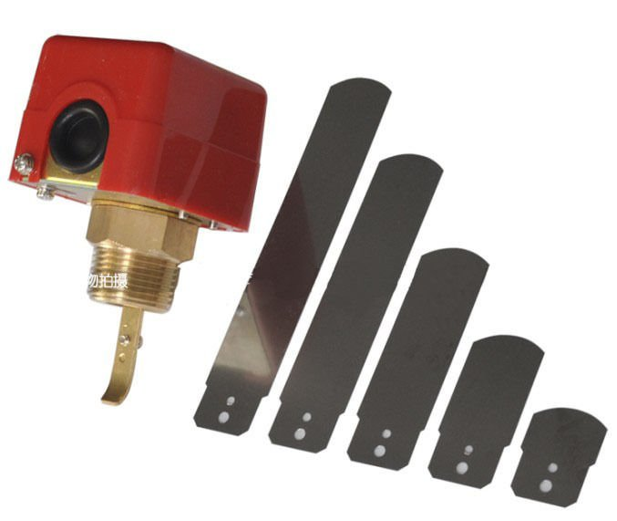 "220V 3A 3/4"" Water/Paddle Flow Switch BSPP Thread Connection SPDT Contacts Red"