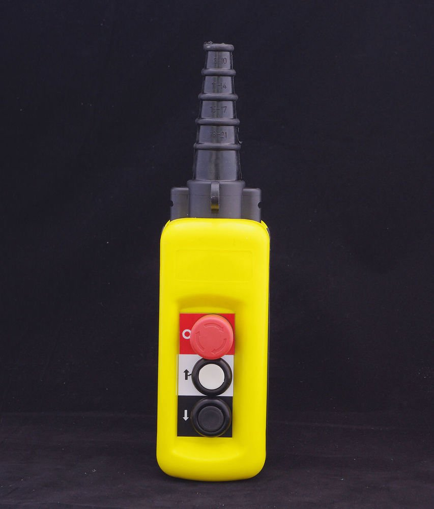 Hoist Crane 2 Pushbutton Pendant Controller Station With Emergency Stop