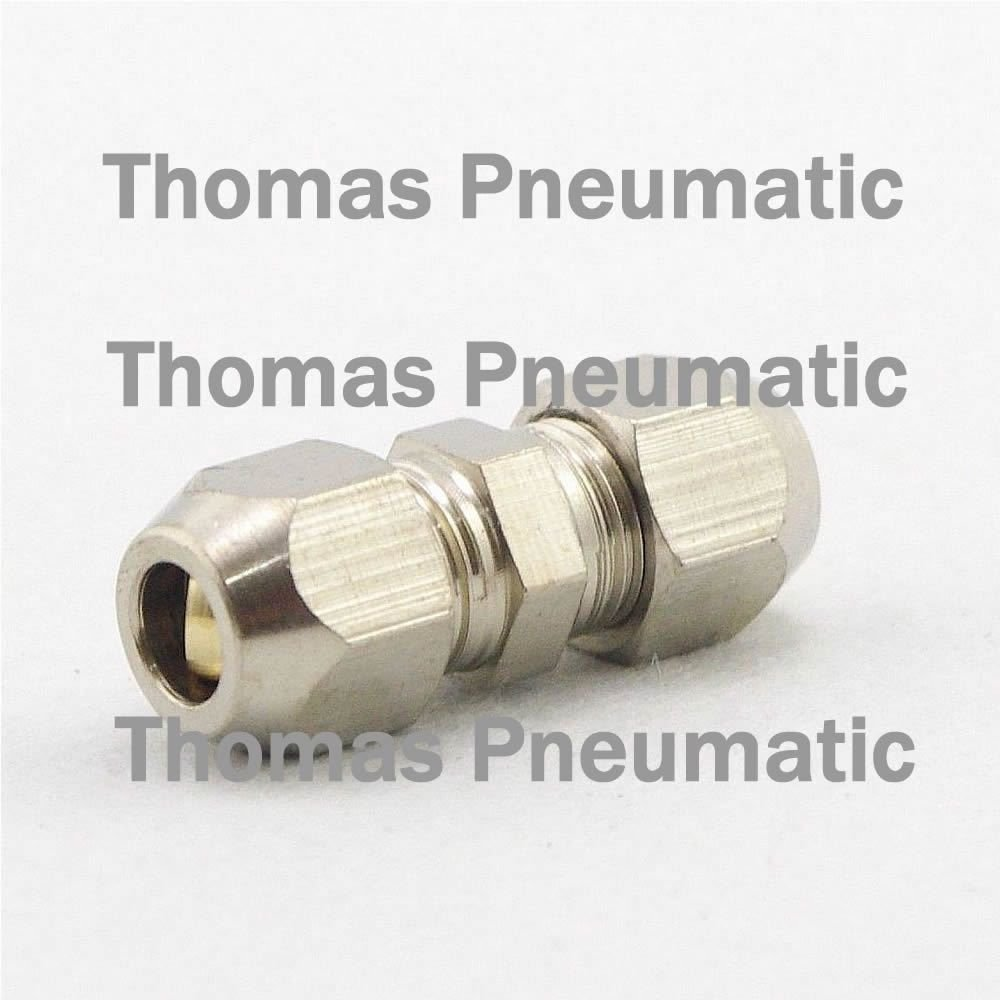 Lot5 Nickel Plated Brass Swagelok 6mm-8mm OD Pipe Straight Reducer Connector